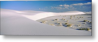 Sand Dunes In A Desert, White Sands Metal Print by Panoramic Images