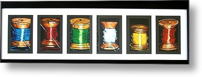 Metal Print featuring the drawing 6 Spools by Joseph Hawkins