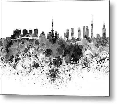 Tokyo Skyline In Watercolor On White Background Metal Print