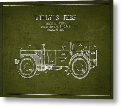 Vintage Willys Jeep Patent From 1942 Metal Print
