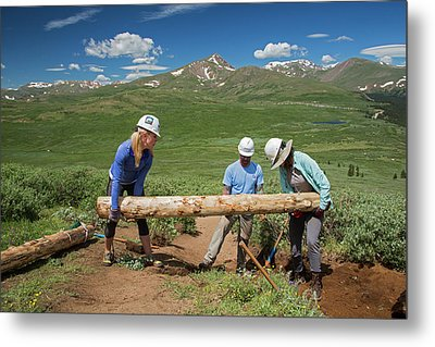 Volunteers Maintaining Hiking Trail Metal Print by Jim West