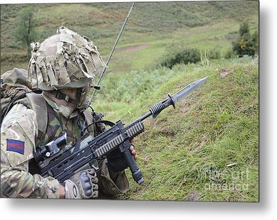 Welsh Guards Training Metal Print by Andrew Chittock