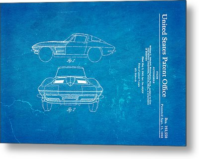 '63 Corvette Stingray Patent Art 1962 Blueprint Metal Print by Ian Monk