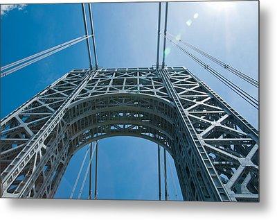Low Angle View Of A Suspension Bridge Metal Print
