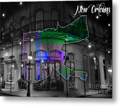 New Orleans Map Watercolor Metal Print by Marvin Blaine