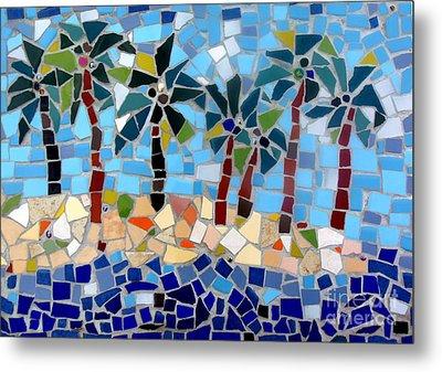 7 Palm Trees Mosaic Metal Print