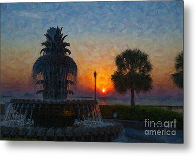 Pineapple Fountain At Dawn Metal Print by Dale Powell