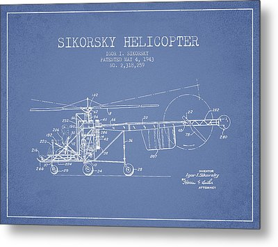 Sikorsky Helicopter Patent Drawing From 1943 Metal Print