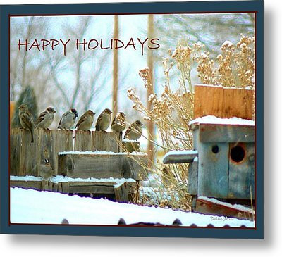 7 Sparrows Sitting On A Fence Greeting Card Metal Print