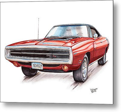 70 Dodge Charger Rt Metal Print by Shannon Watts