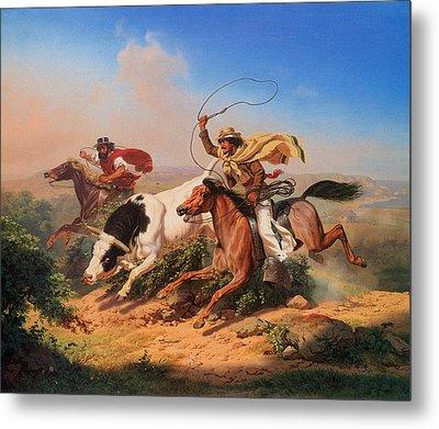 Vaqueros Roping A Steer Metal Print by Charles Christian Nahl