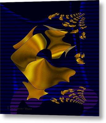 780 - Golden Foil Metal Print by Irmgard Schoendorf Welch