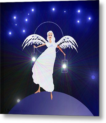 783 - Angel With Two Lanterns   Metal Print by Irmgard Schoendorf Welch