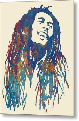 Bob Marley Stylised Pop Art Drawing Potrait Poser Metal Print