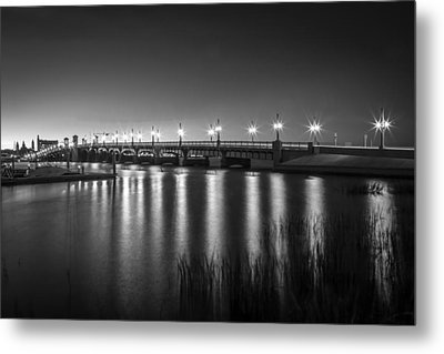 Bridge Of Lions St Augustine Florida Painted Bw Metal Print by Rich Franco