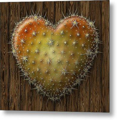 Cactus Heart Metal Print by James Larkin