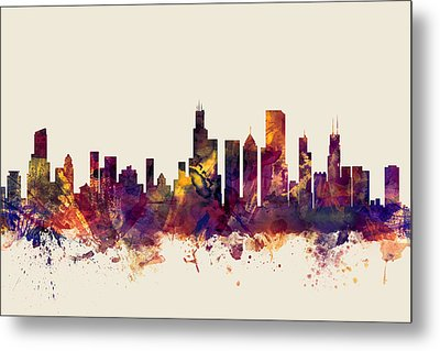 Chicago Illinois Skyline Metal Print by Michael Tompsett