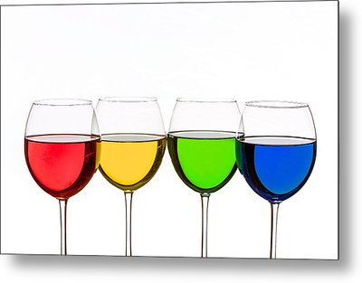 Colorful Wine Glasses Metal Print by Peter Lakomy