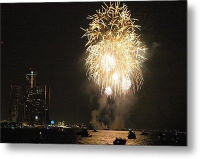 Detroit Fireworks Metal Print by Gary Marx