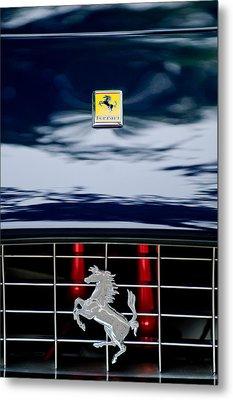 Ferrari Hood Emblem Metal Print by Jill Reger