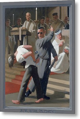 8. Jesus Before The Priests / From The Passion Of Christ - A Gay Vision Metal Print by Douglas Blanchard