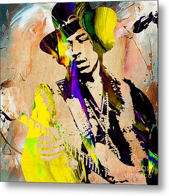 Jimi Hendrix Painting Metal Print by Marvin Blaine
