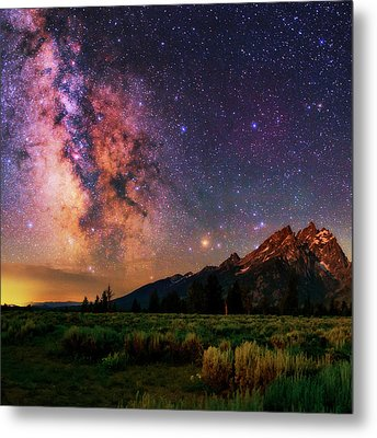Milky Way Over Grand Teton National Park Metal Print by Babak Tafreshi