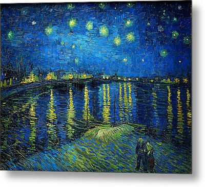Starry Night Over The Rhone Metal Print by Vincent van Gogh