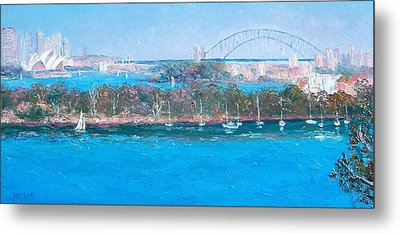 Sydney Harbour The Bridge And The Opera House By Jan Matson Metal Print