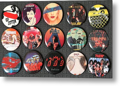 80s Music Rock Pins Metal Print