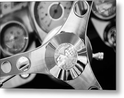 1960 Chevrolet Corvette Steering Wheel Emblem Metal Print by Jill Reger