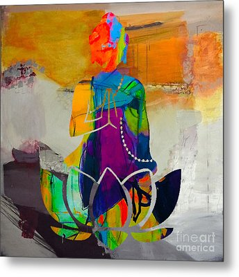 Buddah On A Lotus Metal Print by Marvin Blaine