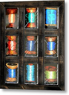 Metal Print featuring the drawing 9 Spools by Joseph Hawkins