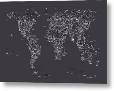 World Map Of Cities Metal Print by Michael Tompsett