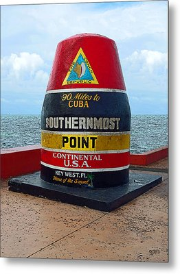 Southernmost Point Key West - 90 Miles To Cuba Metal Print by Rebecca Korpita