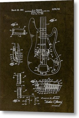 1961 Fender Bass Pickup Patent Art Metal Print by Gary Bodnar