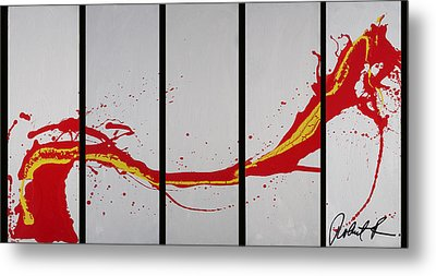 96x49 The Red Dragon  - Black Fire - Huge Signed Art Abstract Paintings Modern Www.splashyartist.com Metal Print