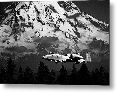 A-10 Over Mt. Rainier Metal Print