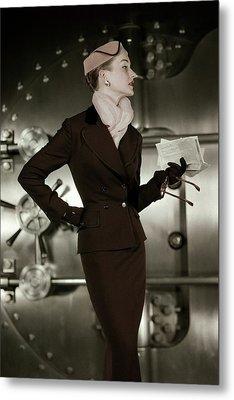 A 1950s Model Wearing A Tweed Suit Metal Print