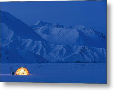 A Backpacking Tent Lit Up At Twilight Metal Print