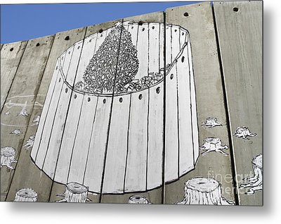 A Banksy Graffiti On The Separation Wall In Palestine Metal Print by Roberto Morgenthaler