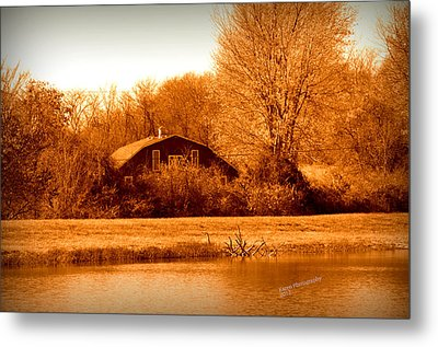 Metal Print featuring the photograph A Barn On The Lake by Karen Kersey