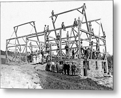 A Barn Raising With All The Neighbors Metal Print by Underwood Archives