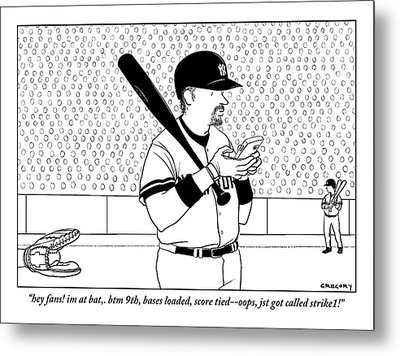 A Baseball Player Yankees Twitters Metal Print by Alex Gregory
