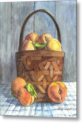 A Basket Of Peaches Metal Print by Carol Wisniewski