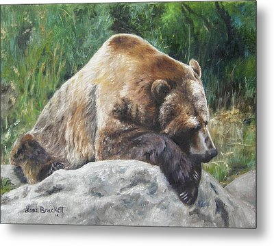 Metal Print featuring the painting A Bear Of A Prayer by Lori Brackett