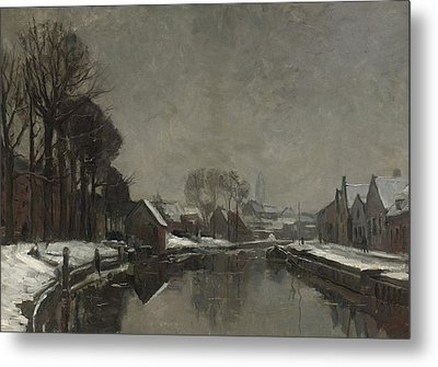 A Belgian Town In Winter Metal Print