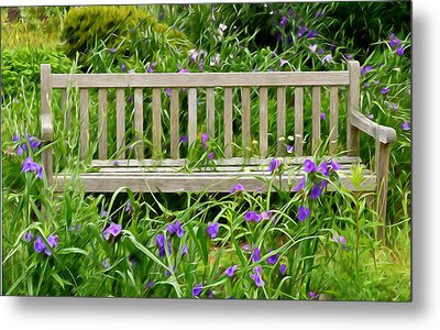 A Bench For The Flowers Metal Print by Gary Slawsky