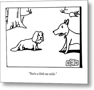 A Big Dog Says To A Smaller Dog Metal Print