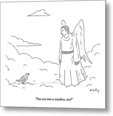 A Bird In Heaven Addresses A Male Angel And Asks Metal Print by Kim Warp
